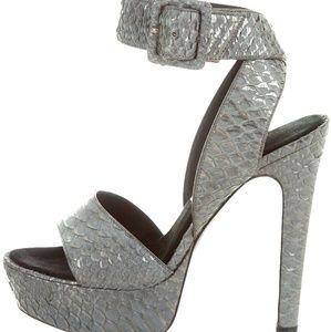 Barbara Bui Snakeskin Platform Sandals w/ Pewter